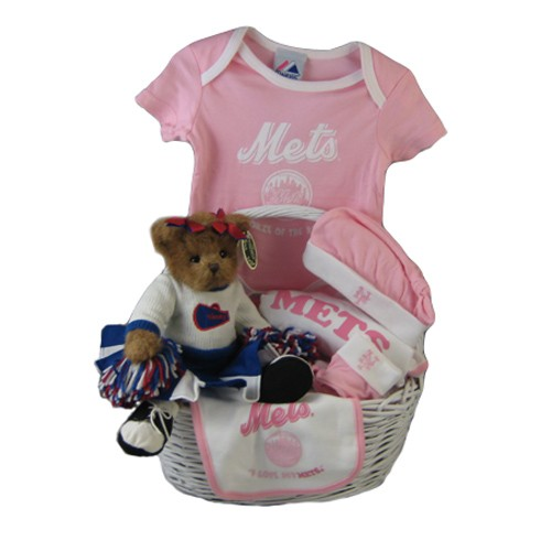 Baby Gift Baskets New York : New york mets baby girl gift basket home run