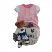 New York Yankees Baby Girl Gift Basket  ***HOME RUN***